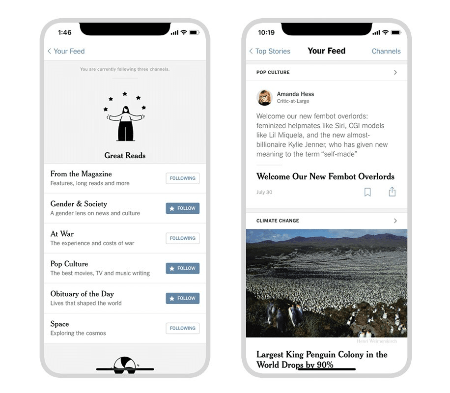 Image of Your Feed in the New York Times app.