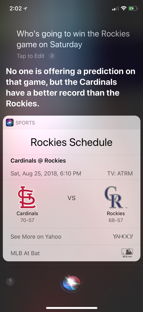 Siri Showing Unavailable Sports Odds on iPhone