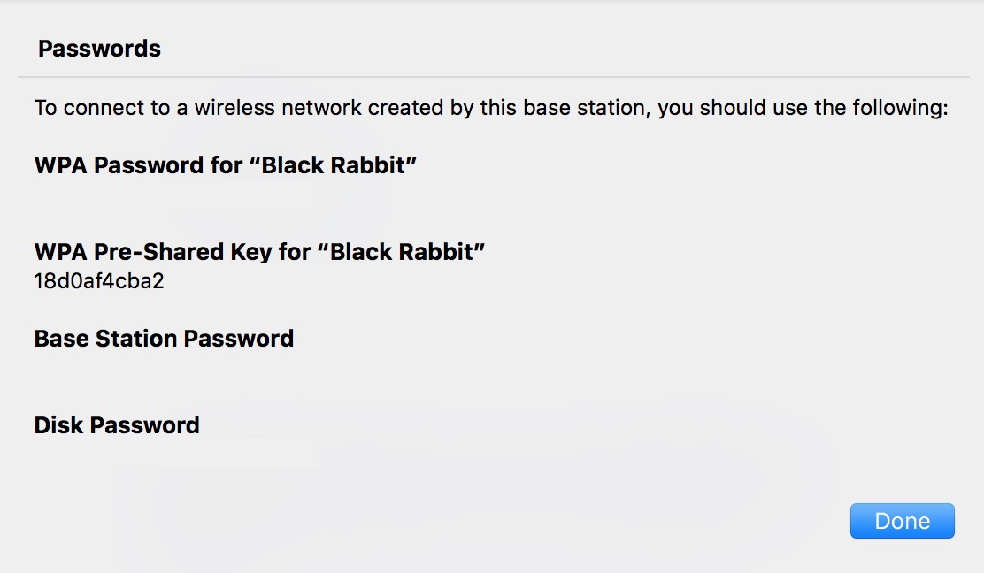 List of Passwords for Base Station in AirPort Utility