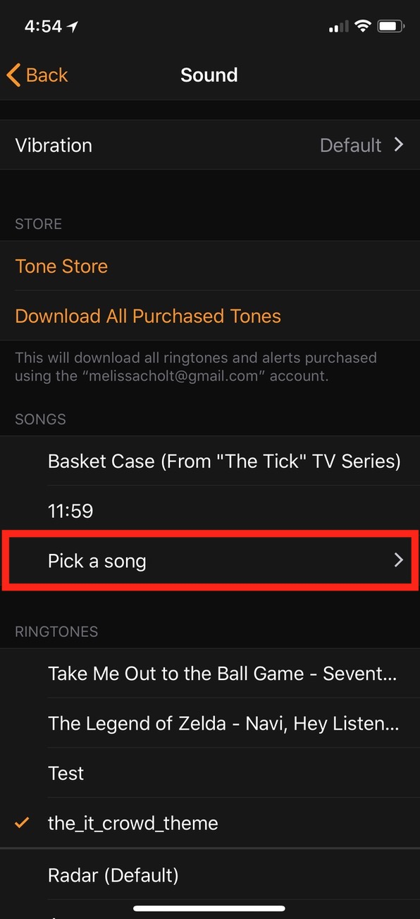 """Pick a song"" for Alarm on iPhone"