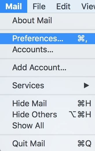 Mail's Preferences Menu Option on the Mac