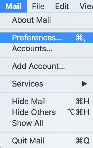Mail's Preferences Menu Option on the Mac