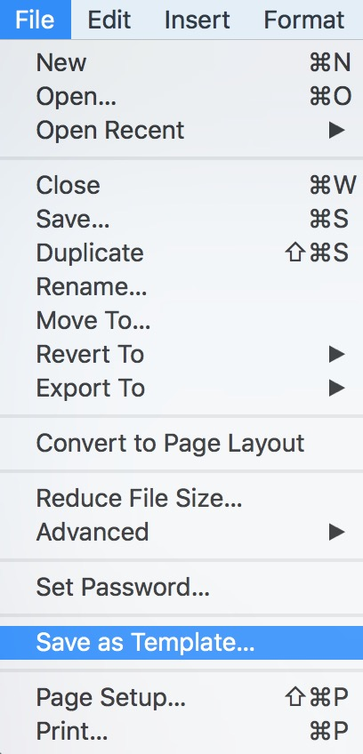 """Save as Template"" Option in Pages on the Mac"