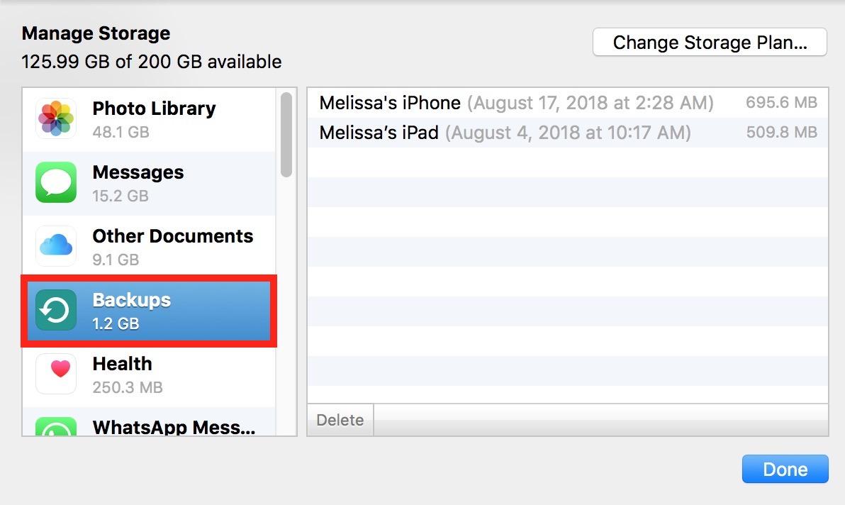 """Backups"" Info in iCloud settings on the Mac"