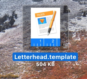 Pages Template File on Mac Desktop