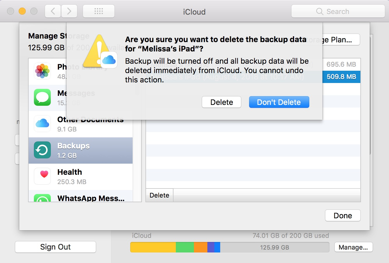 "iCloud device ""Delete Backup"" Warning within System Preferences on the Mac"