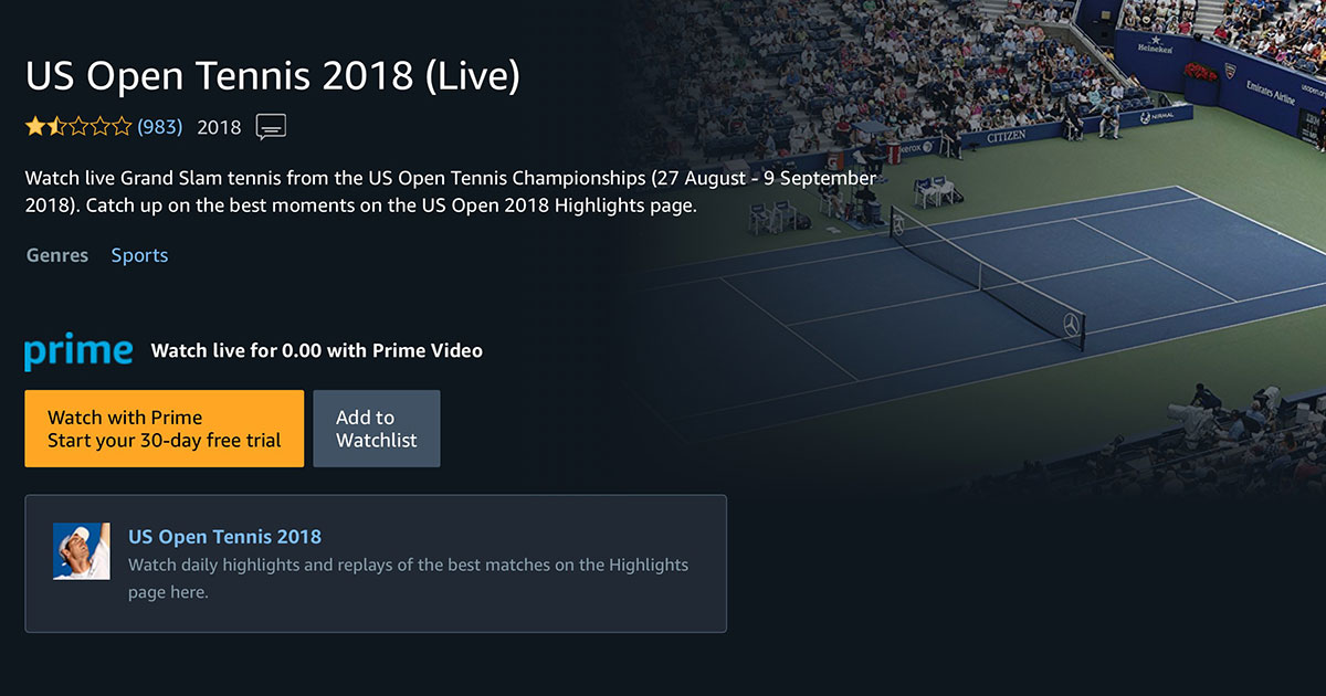 Amazon UK's Splash Page for US Open Broadcasts