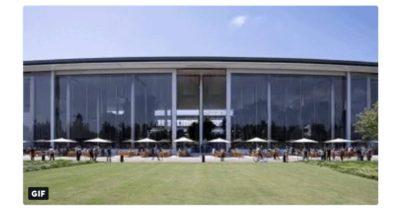 Apple Park campus cafeteria doors opening