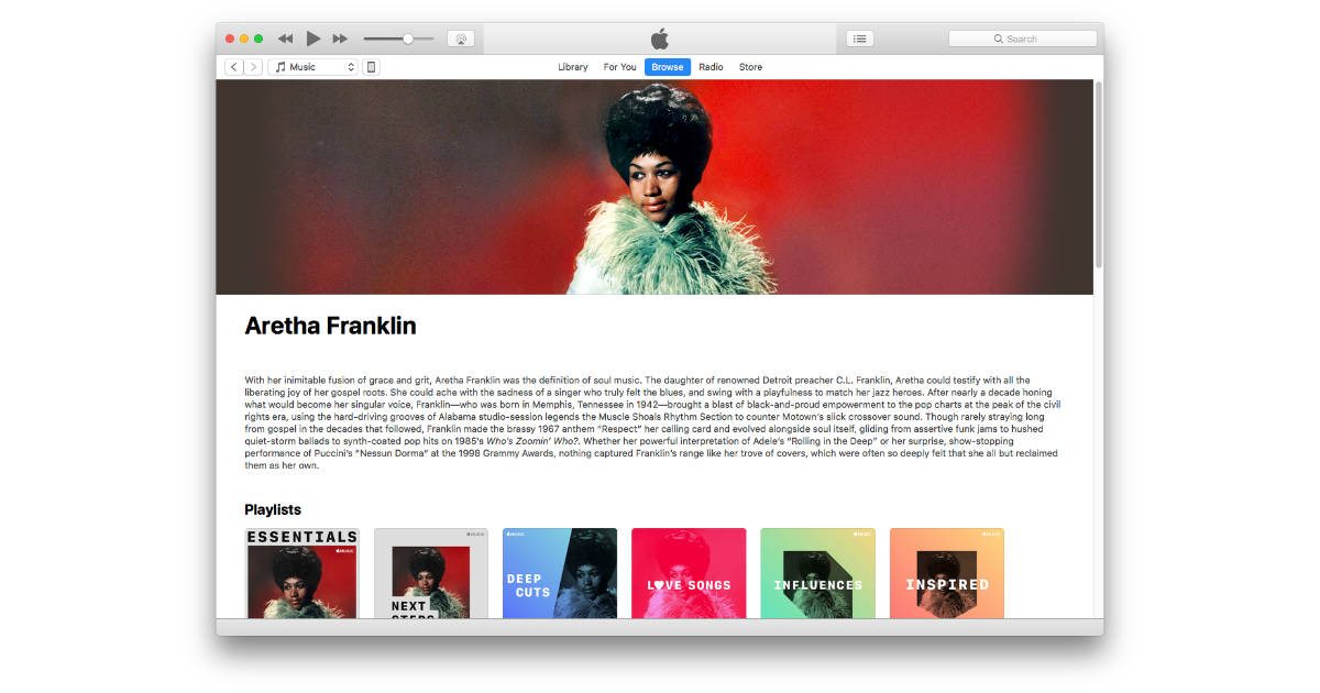 Apple Commemorates Aretha Franklin's Life with Apple Music Playlists