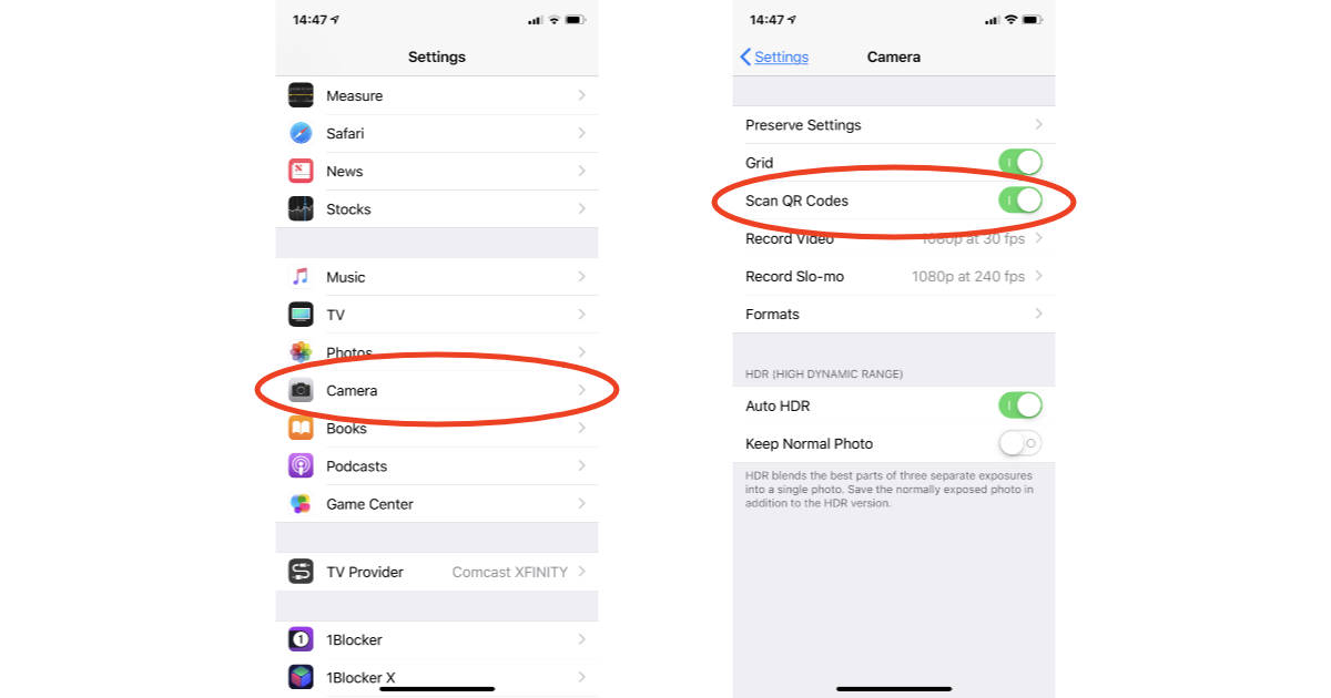 Camera app automatic QR Code scanning settings on iPhone