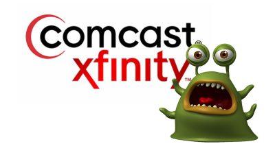 Comcast Xfinity logo with freaked out bug