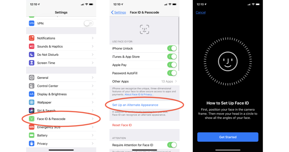 Face ID Alternate Appearance settings for Face ID in iOS 12