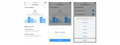 Facebook and Instagram in-app time management tools