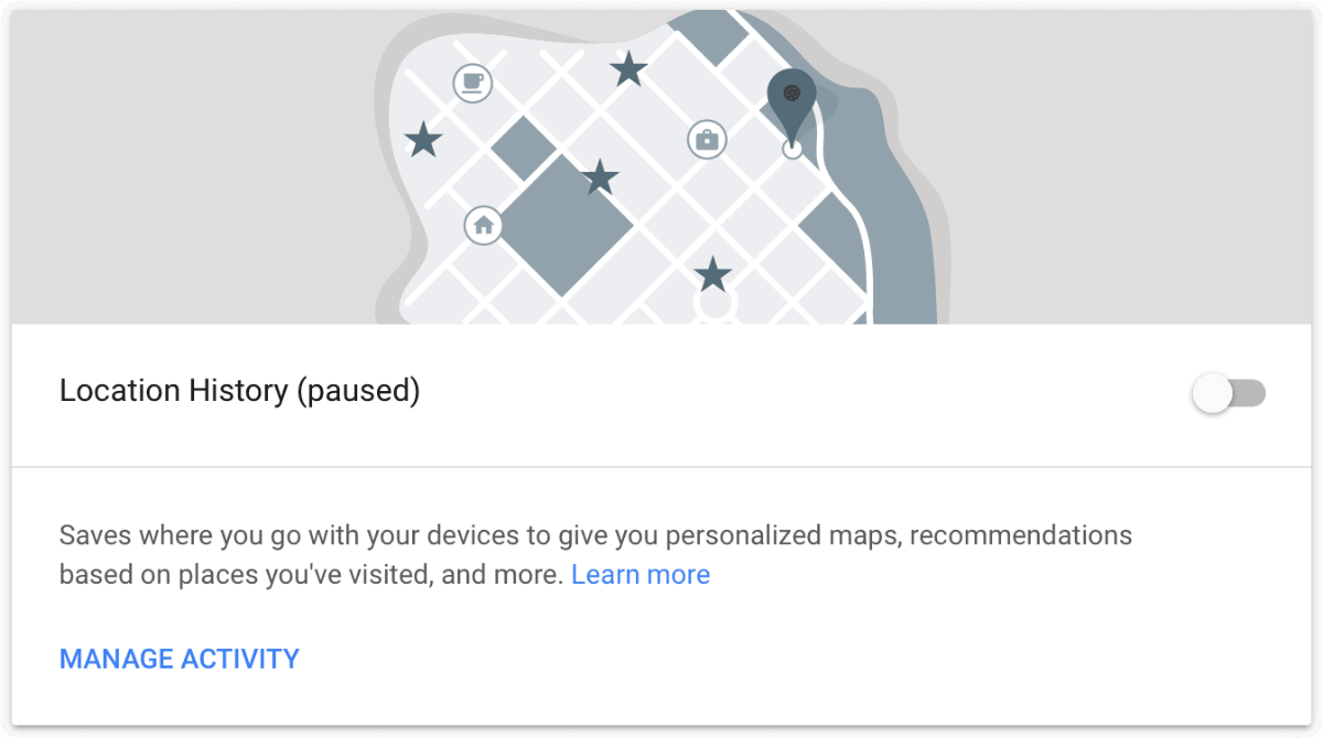 Image of Google Location History. When Google tracks you, locations are stored here.