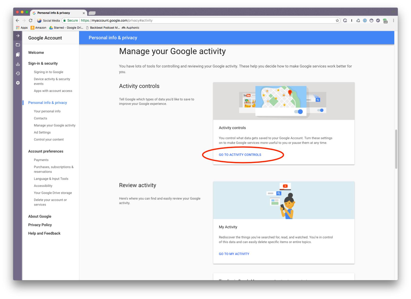 Google Activity Controls option