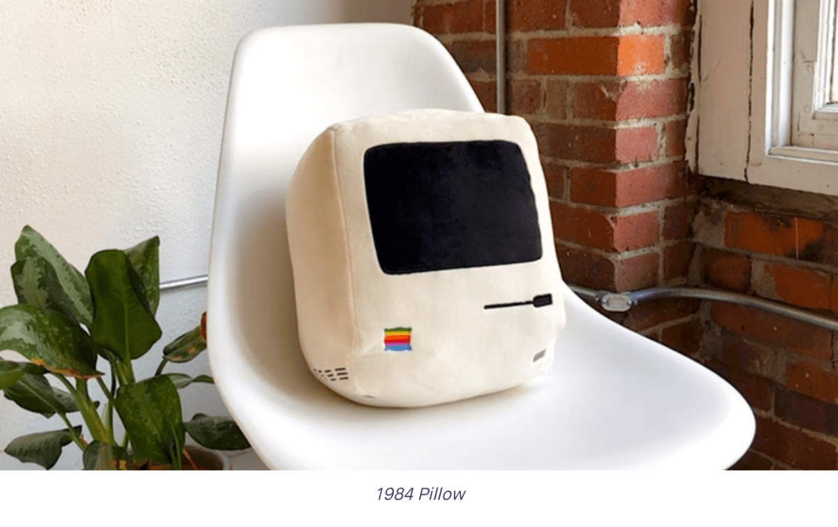 Image of the 1984 pillow as part of the Apple decorations collection.