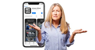 Infowars app on iPhone with confused woman