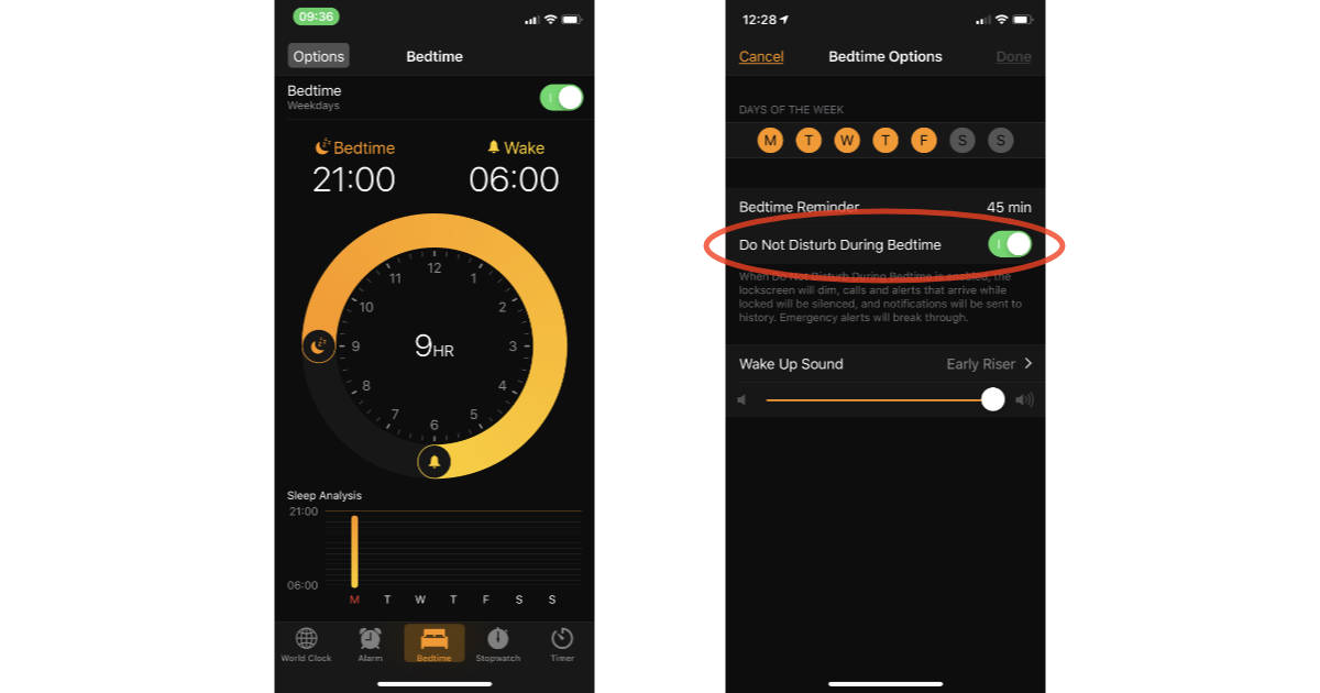 Do Not Disturb During Bedtime settings in iOS 12 Clock app