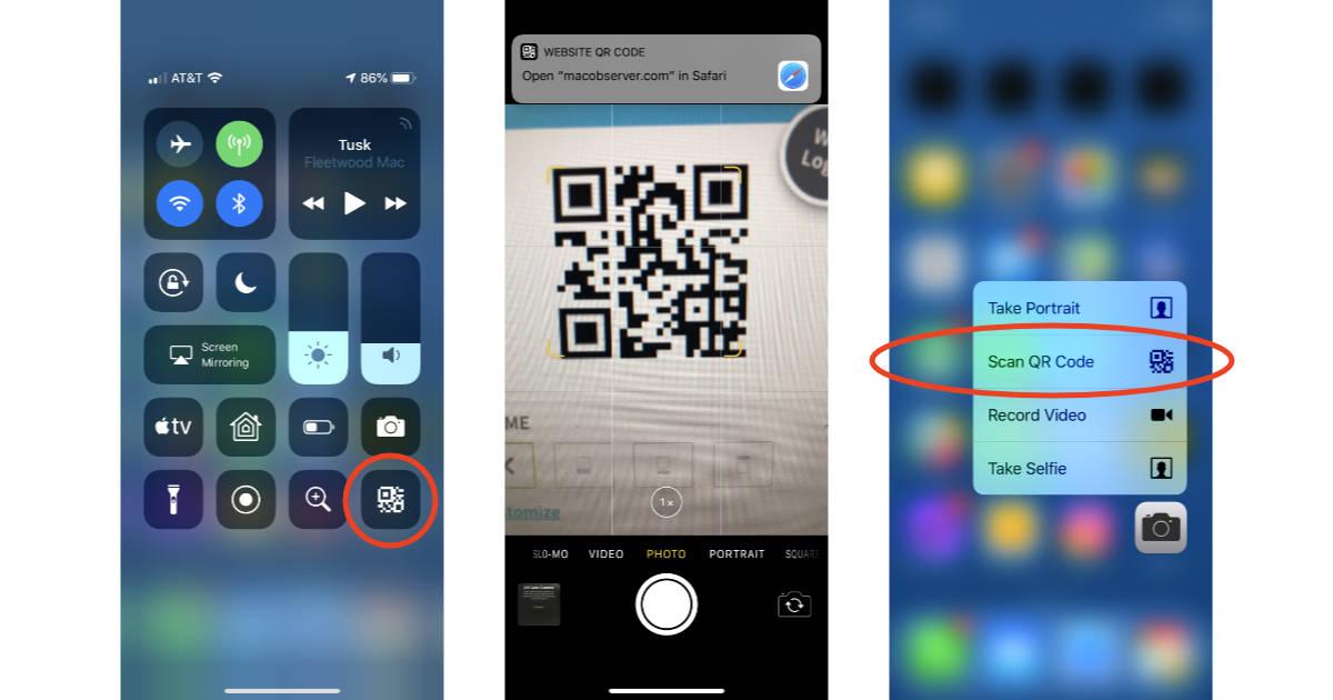 iOS 12 QR Code scanner Control Center tile