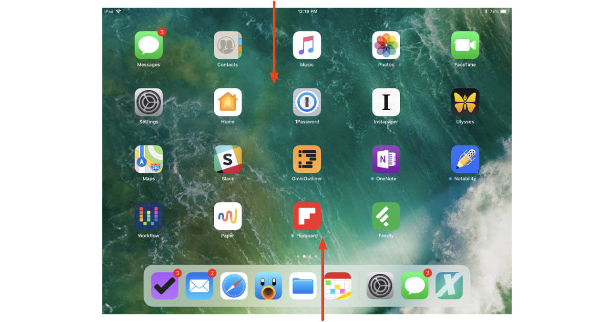 iOS 11 on iPad Notifications and Control Center/App Center gestures
