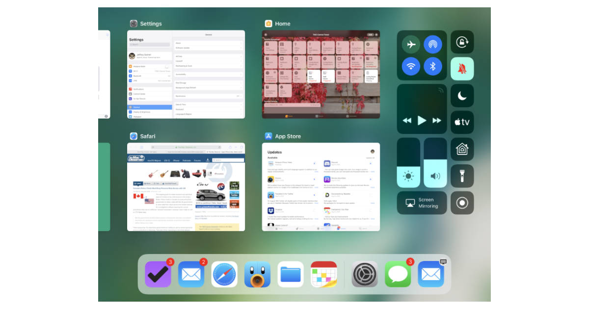 iOS 11 Control Center and App Switcher view on iPad