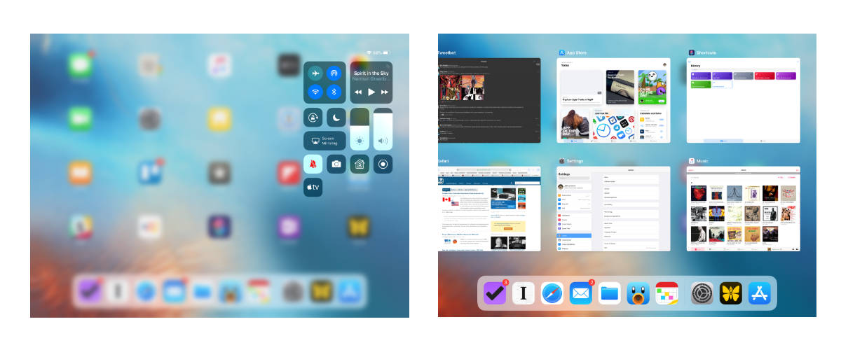 Control Center and App Switcher views on iPad in iOS 12