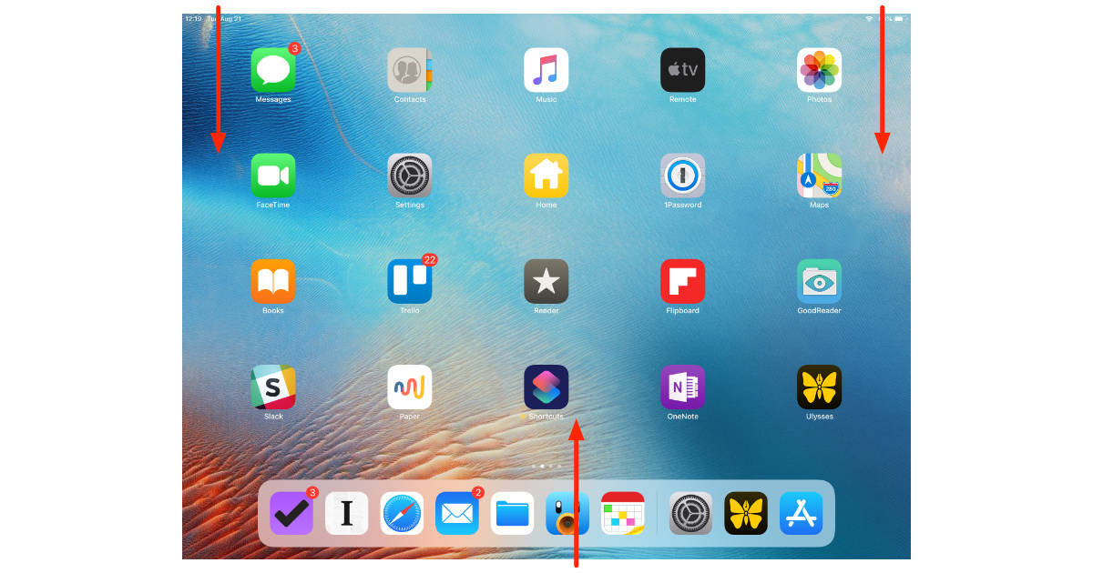 iOS 12 Notifications, Control Center, and App Switcher gestures on iPad