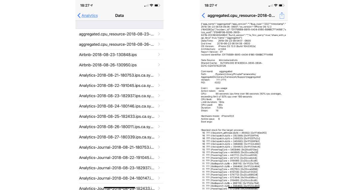 iOS Analytics Data list on iPhone