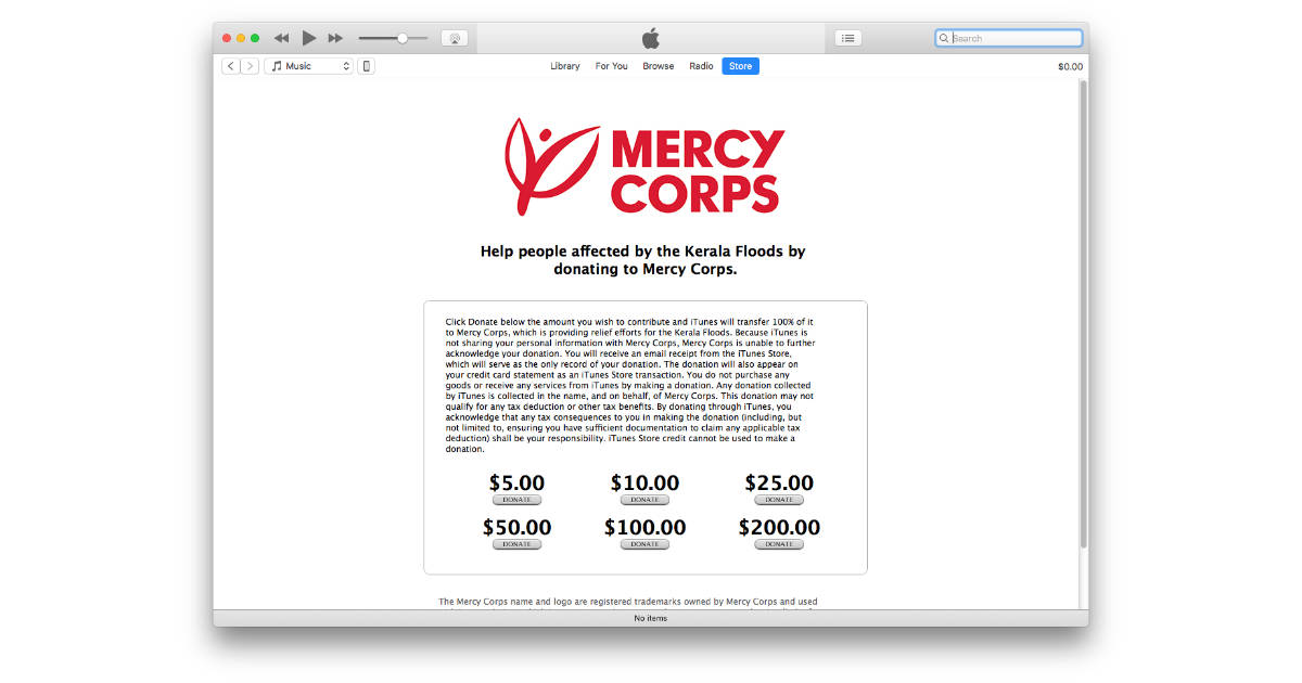 Kerala flood donations for Mercy Corps in iTunes