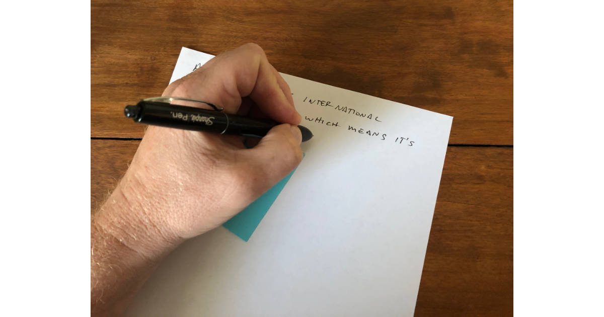 A piece of paper under your hand avoids smudges when writing left handed