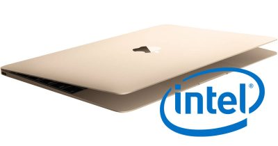 MacBook with Intel logo