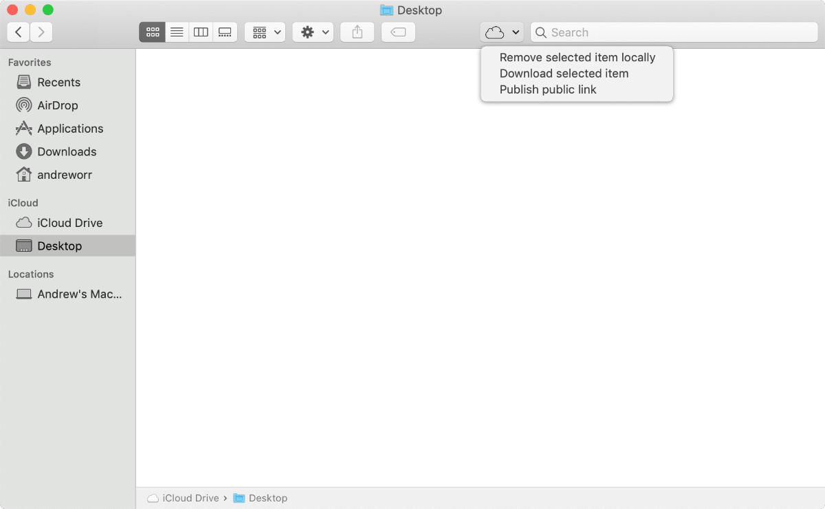 image of icloud control menu button in Finder toolbar