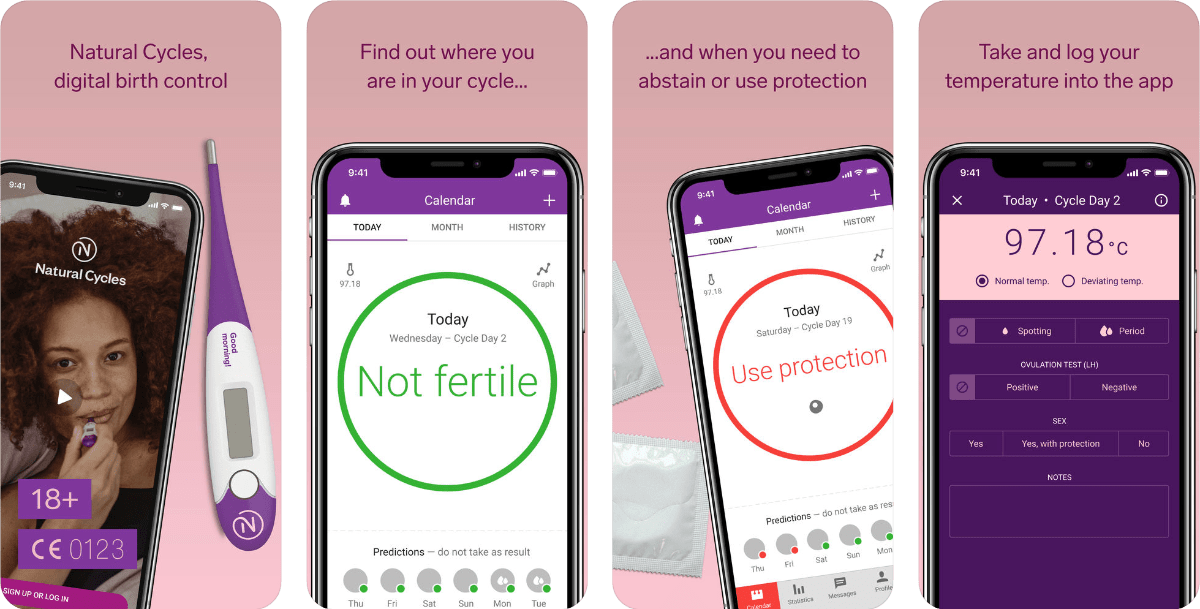 Screenshots of birth control app Natural Cycles.