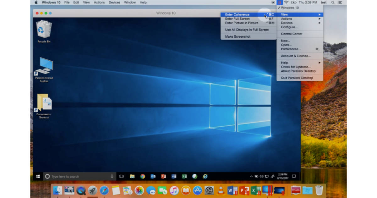 Parallels Desktop 14 running Windows on the Mac