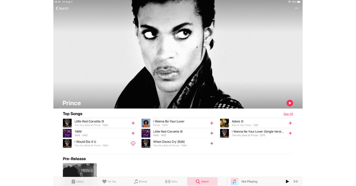 More than 23 Prince albums appear in Apple Music