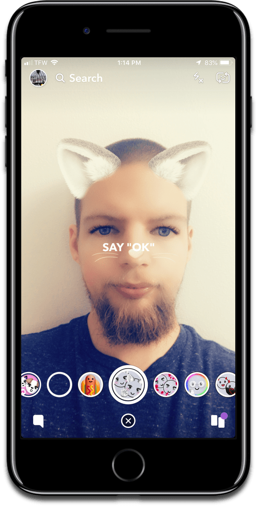 Image of voice activated lenses on Snapchat