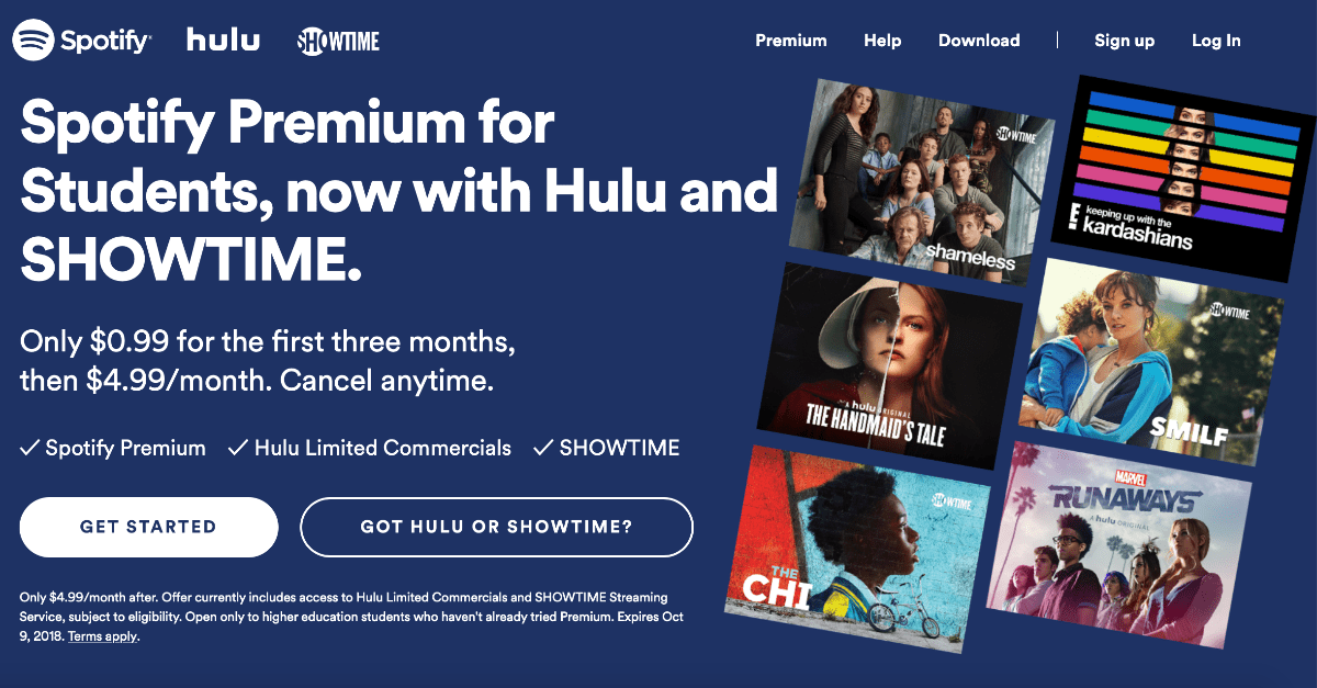 Image of Spotify student bundle with showtime