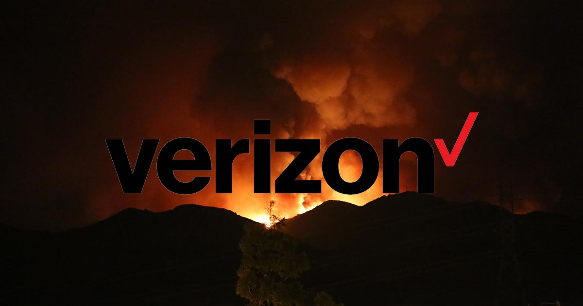 California wildfire with Verizon logo