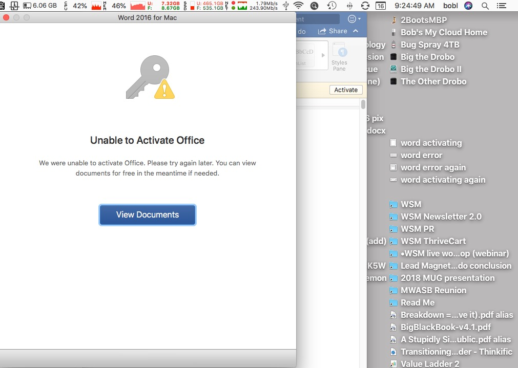 After nearly an hour of frustration and troubleshooting, I'm still unable to activate Office!