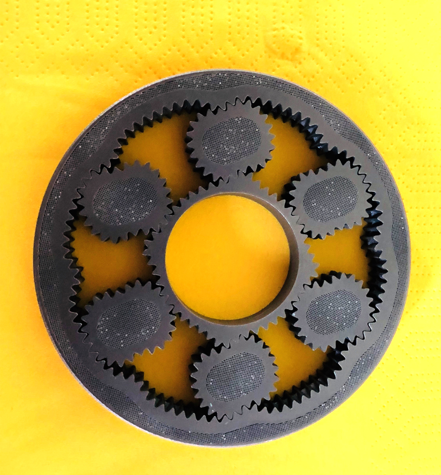 This part was; 3D printed as shown; all of the gears turn flawlessly.