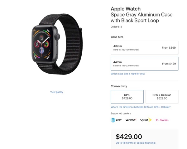 Apple Watch Series 4 pricing.