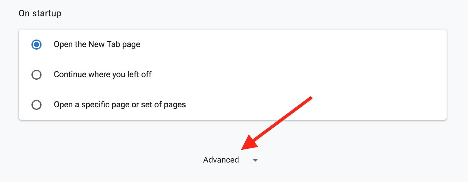 """Advanced"" Option for settings in Google Chrome"
