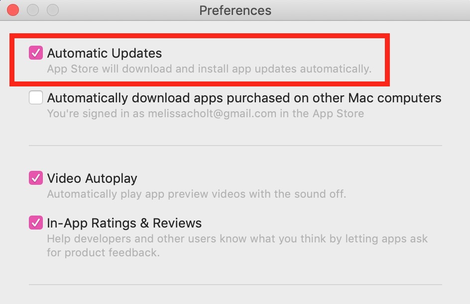 Automatic Updates Checkbox in macOS Mojave
