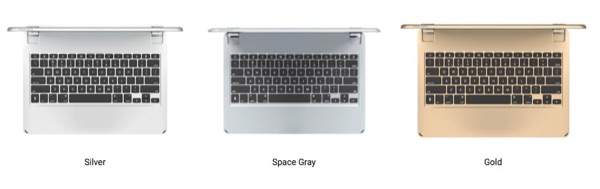 Brydge 12.9 available in silver, space gray or gold to match the iPad.