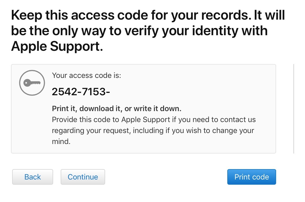 Access Code from Apple