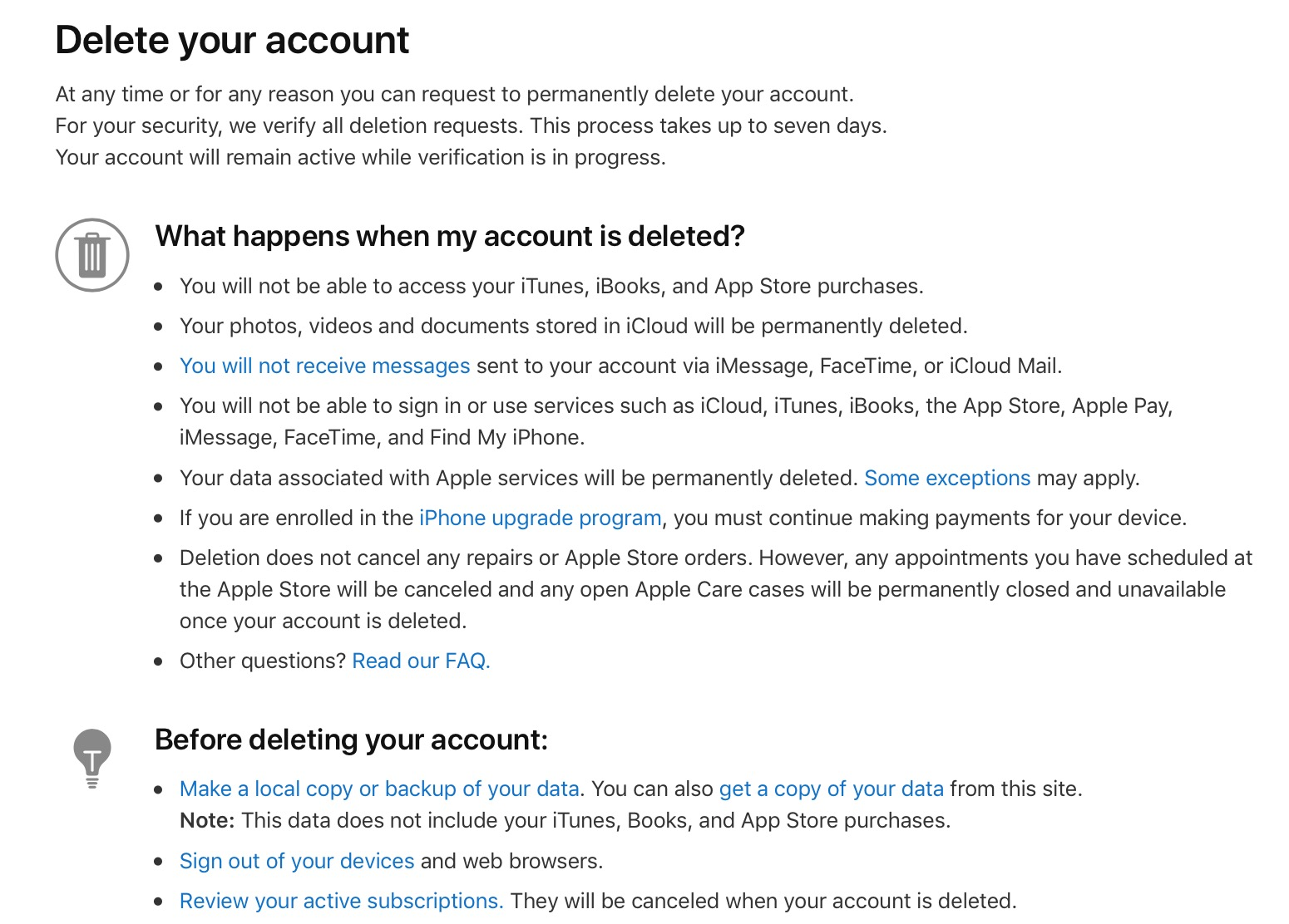 deleting itunes account