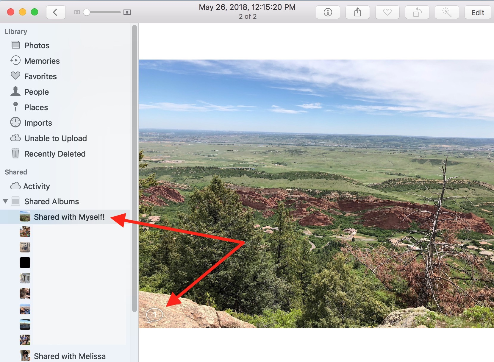 Comments in Photo Sharing on Mac