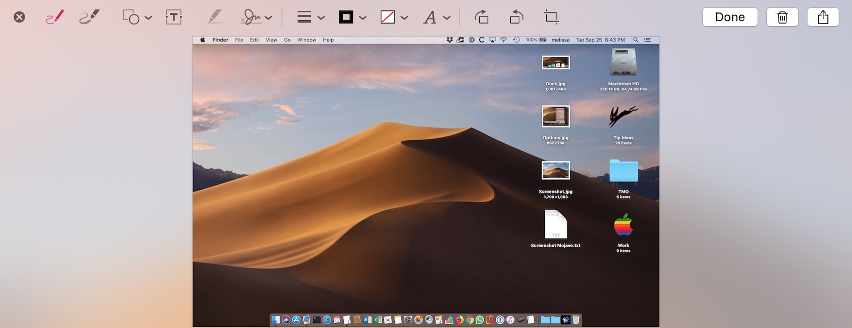 Markup Toolbar for Screenshots in macOS Mojave