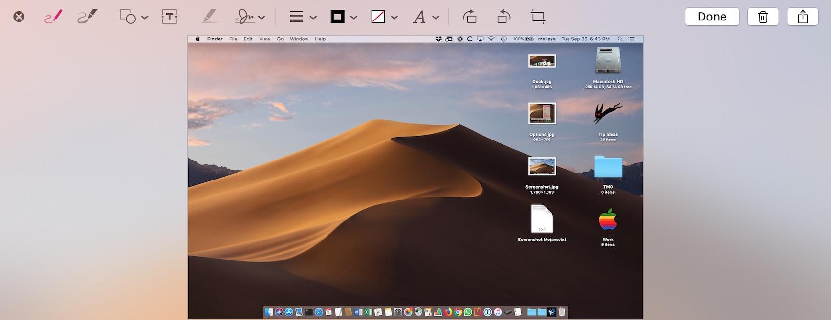 Markup Toolbar for Screenshots in macOS Mojave