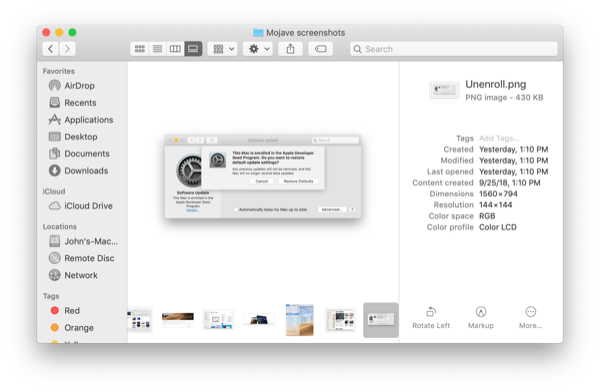 macOS Mojave Finder metadata